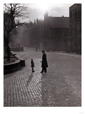Policeman Talking to Lost Child on a Cobbled Street in Edinburgh Poster